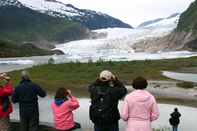 Tourists galore at the Mendenhall Glacier